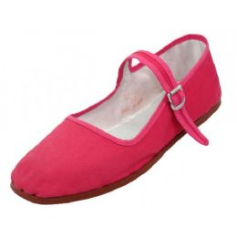 36 Bulk Girl's Classic Cotton Mary Jane Shoes Fuchsia Color Only