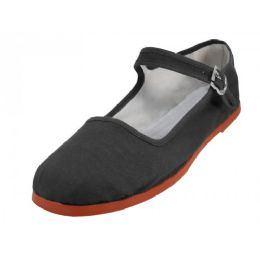 36 Bulk Girl's Classic Cotton Mary Jane Shoes -Black Color Only