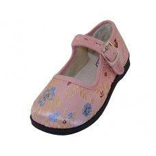 36 Bulk Girls' Satin Brocade Plum Flower Upper Mary Janes Shoe - Pink Color Only