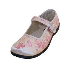 36 Bulk Youth's Satin Brocade Plum Flower Upper Mary Janes Shoe Pink Color