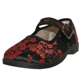 36 Bulk Youth's Satin Brocade Plum Flower Upper Mary Janes Shoe ( Black Color Only)