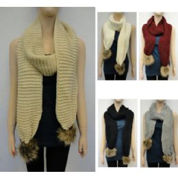24 Bulk Tight Knit With Fur Pompoms Knitted Scarf