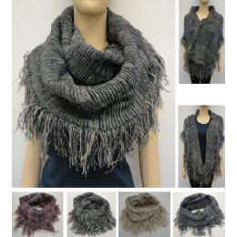 24 Bulk Knitted Infinity Scarf With Fringe [tight KniT-Variegated]