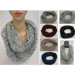 24 Bulk Woven Knit With Shag Knitted Infinity Scarf