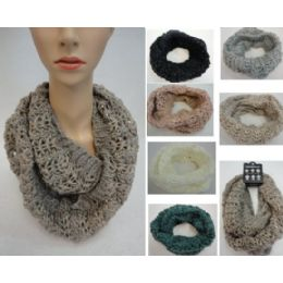 24 Bulk Metallic & Sequin Accent Knitted Infinity Scarf