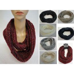 24 Bulk Metallic Knitted Infinity Scarf