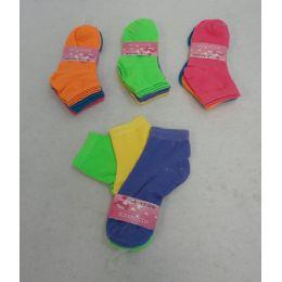 60 Bulk Girl's Anklet Socks 6-8[solid Colors]