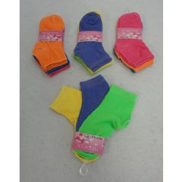 60 Bulk Girl's Anklet Socks 4-6[solid Colors]
