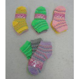 60 Bulk Girl's Anklet Socks 4-6[chevron]