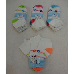 60 Bulk Girl's Anklet Socks 4-6 [stripes & Daisies]