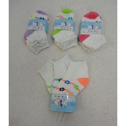 240 Bulk Girl's Anklet Socks 2-4 [stripes & Daisies]