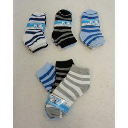 60 Bulk Boy's Anklet Socks 6-8[stripes]