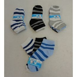 60 Bulk Boy's Anklet Socks 4-6[stripes]
