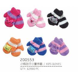 72 Bulk Assorted Color Mittens For Kids