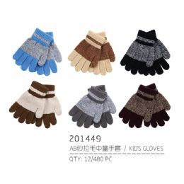 72 Bulk Kids Assorted Color Winter Gloves With Fur Lining