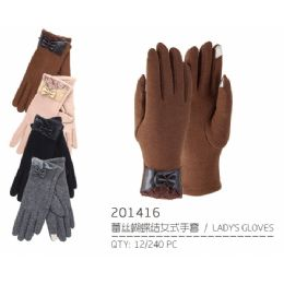 72 Bulk Lady's Winter Touch Glove Faux Leather With Bow And Lace