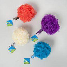 96 Bulk Bath Sponge Solid Color 60gm W/animal Print Loop/96pc Pvc Tube Hba Hangtag