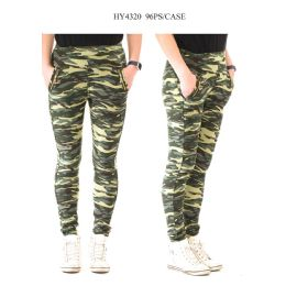 24 Bulk Ladies Camo Print Pants