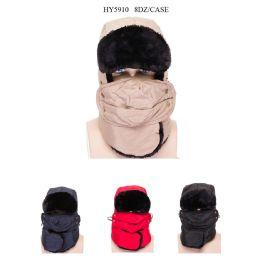 48 Bulk Unisex Ski Faux Fur Winter Hat With Mask