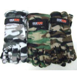 72 Bulk Men Camouflage Fleece Gloves