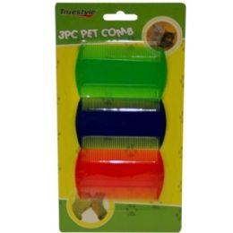 96 Bulk 3 Piece Pet Comb Assorted Colors