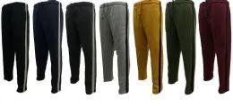 12 Bulk Men's Sweat Stripe Pants 90% Poly 10% Cotton Q07