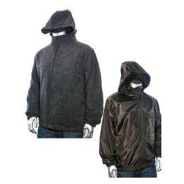 12 Bulk Men's Reversible Nylon Fleece Jacket 90% Poly 10% Cotton