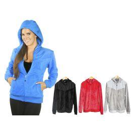 12 Bulk Women's Fur Polar Fleece Jacket W/hoodie