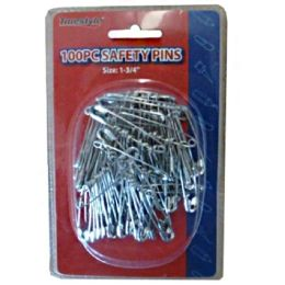 96 Bulk 100pc Safety Pins In Double Clam Shell