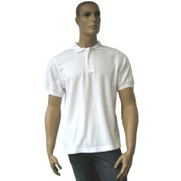 12 Bulk Men's White Polo Shirt Size: Xl Only