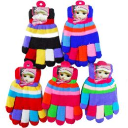 72 Bulk Colorful Kids' Gloves
