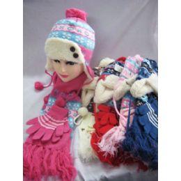 48 Bulk Kids 3 Piece Winter Set - Hat Glove Scarf
