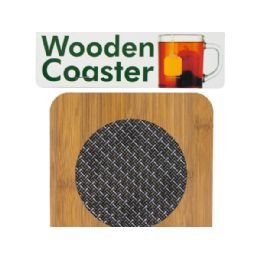 72 Bulk Wooden Coaster With Basketweave Pattern