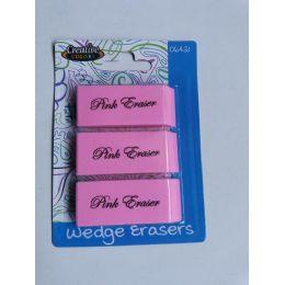 96 Bulk 3 Pink Wedge Erasers