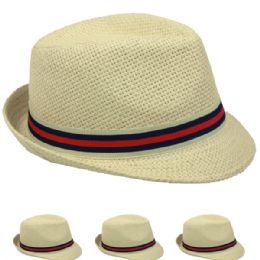 48 Bulk Natural Color Fedora Hat With Two Color Band