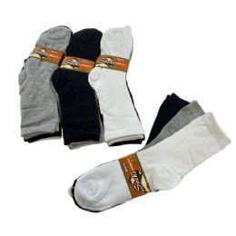 60 Bulk Womens Basic Color Crew Socks - White Black Gray