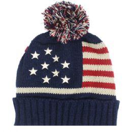 36 Bulk Mens Usa Winter Hat With Pom Pom