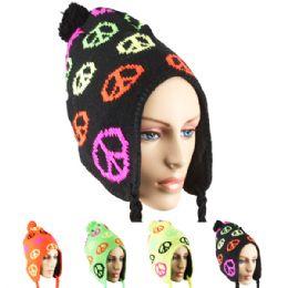 36 Bulk Neon Winter Chullo Hat Peace Design Assorted