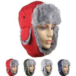 24 Bulk Assorted Winter Pilot Hat With Faux Fur Lining And Strap