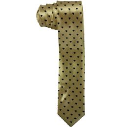 72 Bulk Men's Gold Slim Tie With Hearts