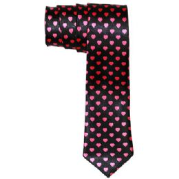 72 Bulk Men's Black Slim Tie With Pens Black Slim Tie With Pink Hearts