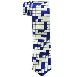 72 Bulk Men's Slim Blue Tie With Checkerboard Print 104
