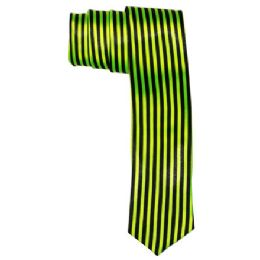 72 Bulk Men's Green And Black Striped Tie