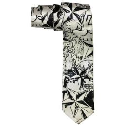 72 Bulk Men's Slim Silver Tie With Pattern