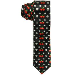 72 Bulk Men's Slim Black Tie With Skeletons And Cherries