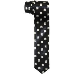 72 Bulk Men's Slim Black Tie With Design