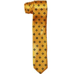 72 Bulk Men's Slim Gold Tie With Pattern