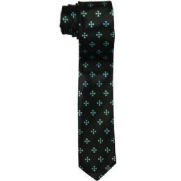 72 Bulk Men's Slim Black Tie With Pattern