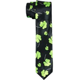 72 Bulk Men's Slim Black Tie With Clover Print