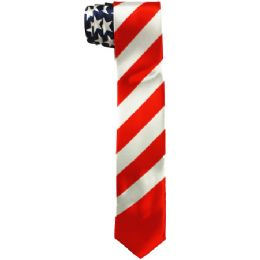 48 Bulk Men's Slim American Flag Tie